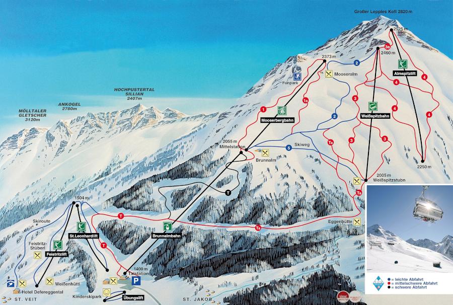 Freizeit - Skigebiet - Brunnalm - Pistenplan